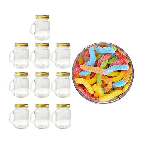 Party Favors! Albanese Sour Gummi Worms 1kg + 10 Mason Jars